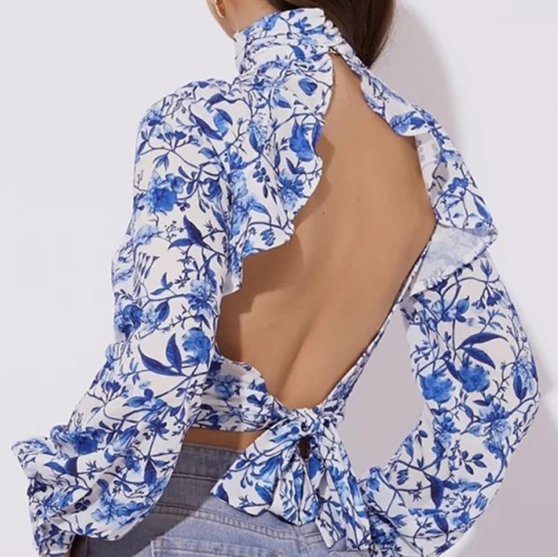 Image of Hot style chiffon frilly printed halter top for women's wear