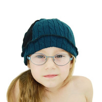 Upcycled Sweater Tuque for Kids in Teal and Black - Winter Hat Cap