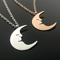 Moon Necklace Crescent Moon Necklace Gold Moon Silver Delicate Necklace Crescent Necklace Dainty Necklace