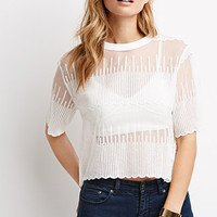 Dot-Embroidered Mesh Top