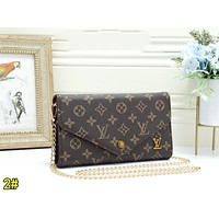 LV Louis Vuitton Popular Women Leather Metal Chain Crossbody Satchel Shoulder Bag 2#