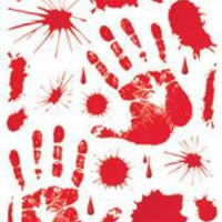 Halloween Decorations: Bloody Handprint Clings