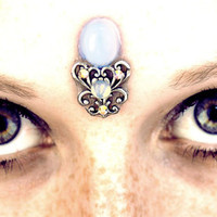 Moonstone Bindi, fantasy, fairy, vintage glass cabochon, silver, goddess, moonlight, blue, opal. white, filigree, tribal fusion, bollywood
