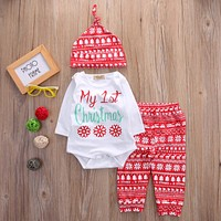 Christmas Baby Girls Print Tops Romper Pants Legging Hat Xmas Outfit Set Clothes