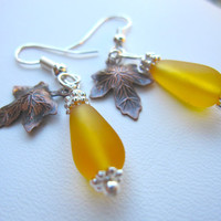 Yellow Sea glass earrings with Autumn Leaf - Perfect for Bridesmaids of Fall Wedding