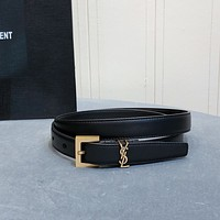 YSL Women's Men's Fashion Smooth Buckle Belt Leather Belt Monogram Leather Belt