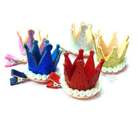 Crown Girl hair accesories PU Bling wedding  clip for bridesmaides