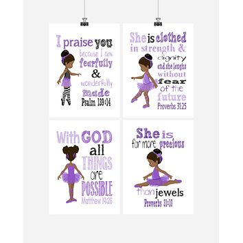 African American Ballerina Christian Nursery Decor Set of 4 Prints in Lavender Purple