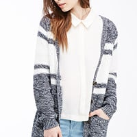 Marled Open-Knit Striped Cardigan