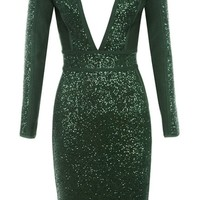'Maja' Deep V Sequin Midi Dress - Green