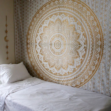 Gypsy Goddess Gold Mandala Tapestry Wall Hanging with silver