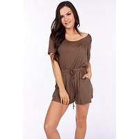 Best Kind Of Night Short Sleeve Romper (Tobacco)