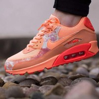 Tagre™ ONETOW Best Online Sale Nike Air Max WMNS 90 Print Sunset Glow Hot Lava Running Shoes Sport Shoes 724980-800