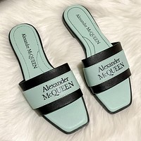 Alexander McQueen new product stitching color letter logo ladies casual sandals beach slippers Shoes Green