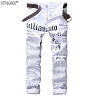 Newsosoo brand 2017 New white jeans men Fashion Printed slim straight jeans hombre Casual letter pattern stretch jeans male MJ26