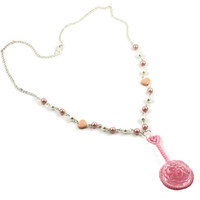 Cute Pink Rattle Necklace with Pink & White pearls and Hearts