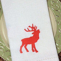 Majestic Reindeer Christmas Embroidered Cloth Napkins - Set of 4 napkins
