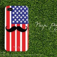 Apple iphone case for iphone iphone 5 iphone 4 iphone 4s iPhone 3Gs  : USA ( United states of America ) with black muchstach