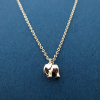 Tiny Gold Elephant Necklace