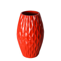 Decorative 12-inch red Vertical Wave Wood Vase