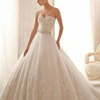 Mori Lee 2621 Strapless Lace Ball Gown Wedding Dress