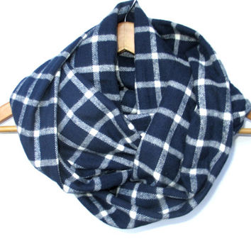 Navy White Plaid Infinity Scarf // Blue Plaid Scarf // Fall Scarf // Navy Plaid Scarf // Plaid // Navy // Auburn Scarf // Fall Plaid //