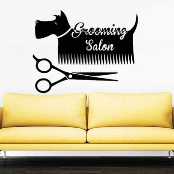 Grooming salon wall decal pet shop vinyl from for A perfect pet salon