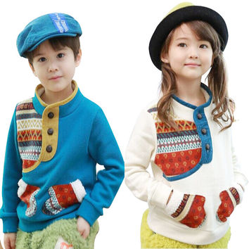 Winter Hoodies Pullover for Boys Girls Two Gloves Pockets Long Sleeve Cotton Sweatshirt
