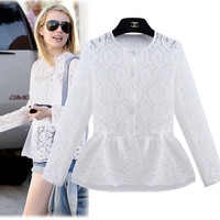 White Lace And Mesh Ruffled Long-Sleeve Blouse