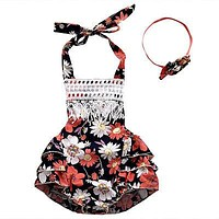 born Toddler Baby Girls Clothes Lace Floral Spaghetti straps Halter Romper Jumpsuit Sun-suit Outfits
