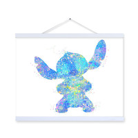 Original Watercolor Stitch Anime Pop Movie Poster Prints Abstract Kawaii Picture Kids Room Wall Art  Decor Canvas Painting Gifts