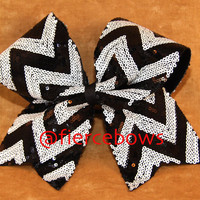 Sequin Chevron Cheer Bow by MyFierceBows on Etsy