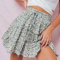 Vintage Prairie Floral Print Skirt Stylish Ruffle Short Skirt High Waist Lace up Mini Skirt
