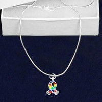 Silver Trim Autism ASD Awareness Ribbon Necklace