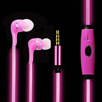 Wired Headphone Glow In-Ear Earphone Stereo Headset LED Luminous Neon Flash Light Earbuds With Microphone for iPhone Samsung