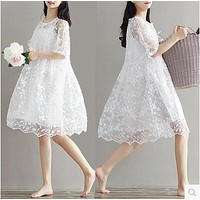 9077 2017 maternity clothing summer twinset lace maternity one-piece dress white embroidery maternity dress For Pregnant