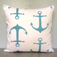 Teal Anchor Decorative Pillow Home Decor Beach Nautical 18in Cotton Accent Pillow Throw Pillow Toss Envelope Modern Boat Decor Nursery Blue