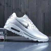 Nike Air Max 90 Men Sneakers Running Sports Shoes Silver I-A0-YFY