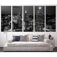 Extra Large Art Atlanta Night Canvas Art Print Large Wall Art Black White Atlanta City Art