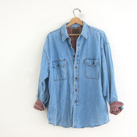 Vintage oversized flannel lined denim shirt. work shirt. faded light wash jean shirt. mens XL