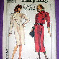 Women's Pullover Straight Dress Misses' Size 10, 12, 14, 16 Simplicity 9285 Vintage 1980's Sewing Pattern Uncut