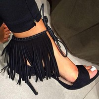 Tassels Women Fashion Peep Toe Sandals High Heels Shoes