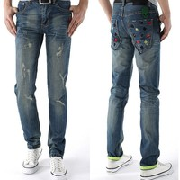 Men Strong Character Ripped Holes Jeans [6528346691]