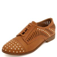Studded Cutout Lace-Up Oxford by Charlotte Russe - Camel