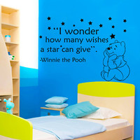 Winnie The Pooh Wall Decals Children Quote I Wonder How Many Wishes A Star Can Give Vinyl Sticker Art Baby Kids Boy Nursery Room Decor MR344
