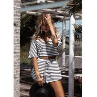 Stripes Summer V-neck Set [11577848207]
