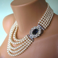Sapphire Necklace Pearl Choker Mother of the Bride Great Gatsby Jewelry Statement Necklace Pearl Collar Wedding Necklace Bridal Jewelry Deco