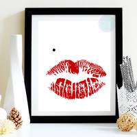 """Boudoir Printable, """"Bombshell"""", 8x10, Marilyn Monroe Lips Red with Black Mole Printable, INSTANT DOWNLOAD"""