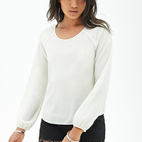 FOREVER 21 Buttoned Woven Blouse Cream