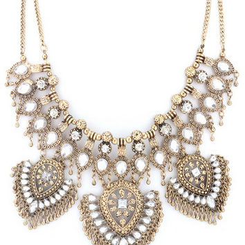Stevie Boho Glam Statement Necklace in Gold